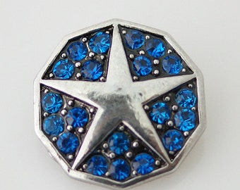 KB7446 Silver Star with Four Blue Crystals Between Each Point