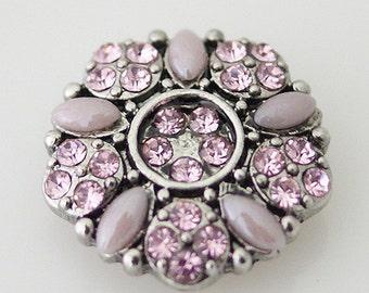 KB7414  Dusty Pink Pearl Petals w Pink Crystals