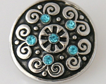 KB7509    Beautiful Faceted Aqua Stones Surrounded by Silver Swirls and Black Enamel