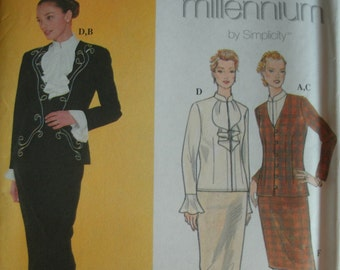 Misses Lined Jacket, Blouse and Skirt Size 12-14-16-18 Simplicity Millennium Pattern 8847 UNCUT PATTERN Dated 1999