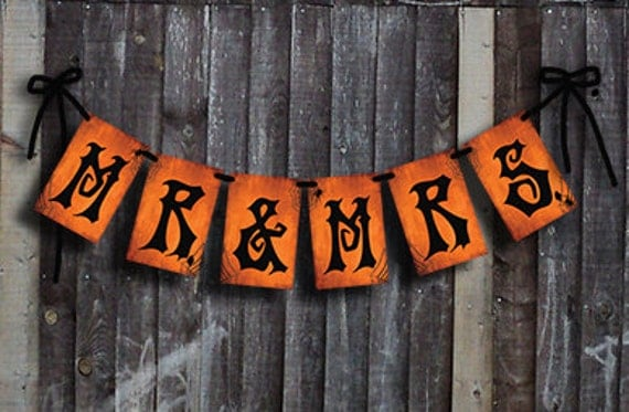 mr u0026 mrs halloween wedding banner for gothic or day of the dead weddings download and printable diy chalkboard style