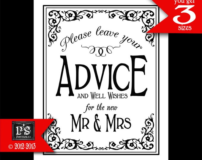 Printable Wedding ADVICE sign - 5x7, 8x10 or 11 x 14 - instant download digital file - DIY - Black Tie Collection - Traditional Black White