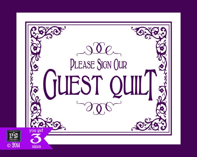 Printable Please sign our Guest Quilt Wedding Sign - 3 sizes - instant download digital file - DIY - Black Tie Purple Plum Collection