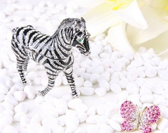 Beautiful Crystal Zebra Jewelry Box,jewelry case,Accessary case,present,ring case,With a beautiful gift box