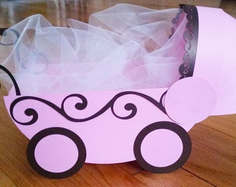 Baby Shower Centerpiece- Baby Carriage - SOLID COLORS