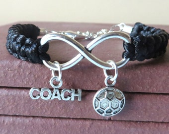 Soccer Coach Athletic Charm Infinity Bracelet Soccer Ball Coach Charm You Choose Your Cord Color(s)