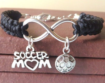 Soccer Mom Athletic Charm Infinity Bracelet Coach Charm You Choose Your Cord Color(s)