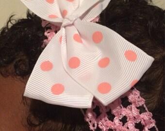Baby band-Pink Polka dot bow