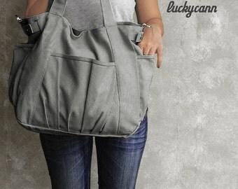IRIS / Grey / Lined with Beige / 051 / Ship in 3 days // Messenger / Diaper Bag / Shoulder bag / Tote Bag / Purse / Gym Bag