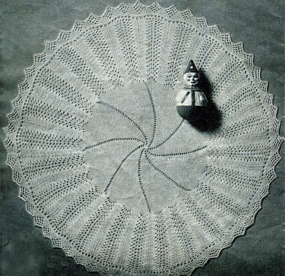 Christening Blanket Knitting Pattern : Items similar to ROUND CHRISTENING SHAWL Knitting Pattern 50