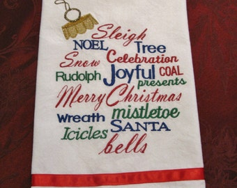 Embroidered Christmas Tea Towel, Dish Towel, Kitchen Towel with Words in Ornament Shape Design