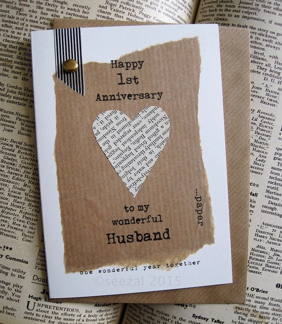 St anniversary keepsake card husband wife paper by