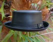 Black leather English style Pork Pie Hat / Jazz / SKA / Rocky Movie Hat