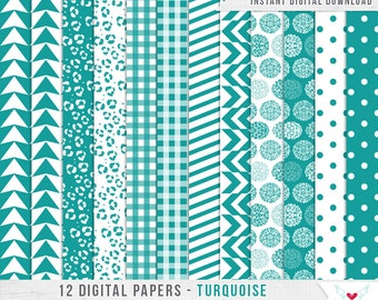 12 Digital Papers - Patterns Turquoise - Scrapbooking - Digital Instant Download