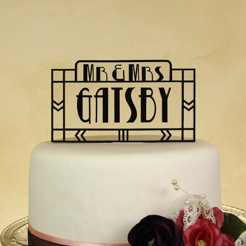 Wedding cake topper Mr. and Mrs. personalized with floating letters ...