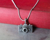 Camera charm necklace, retro camera necklace with silver plated chain