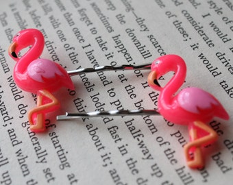 Flamingo hair slides, kitsch flamingo hair accessories