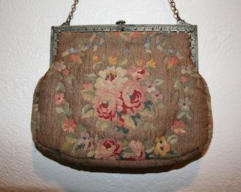 1900's Vintage Petit Point Tapestry Floral Handbag Purse