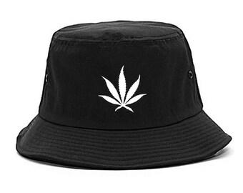 Pot Leaf Black Bucket Hat by Fashionisgreat