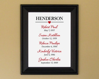 Special Dates Print - Important Family Dates Art - Family History - Personalized Family Name Art - Anniversary Gift for Wife - 11 x 14