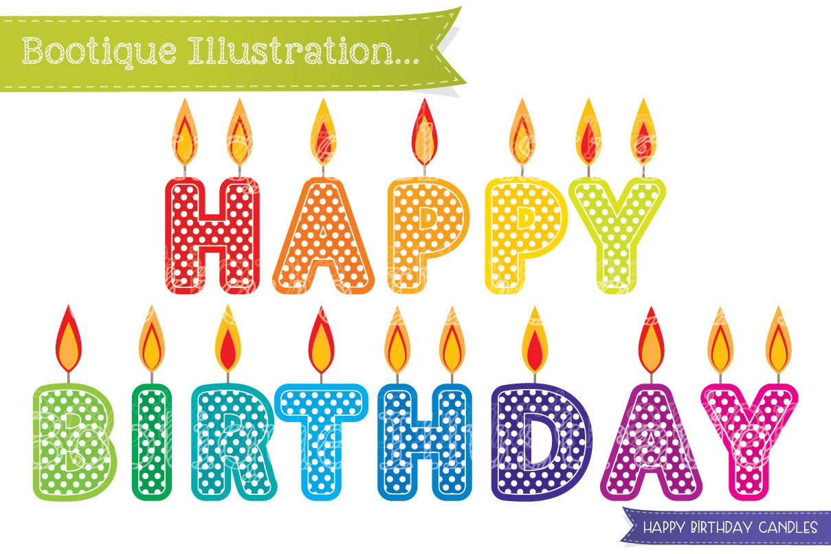 Ideal Happy Birthday Candles Clipart. Birthday Clipart. Candles Clip Art  RI36