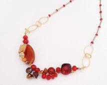 Red & Brown Necklace,  Red OOAK Wired Necklace, Coral Red Necklace, Red Stones Necklace