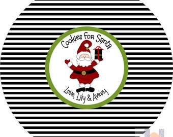 Monogram Santa Stripe Cookie Christmas Plate. Start a FUN holiday tradition with a plate customized with your family name. Great for gifts!
