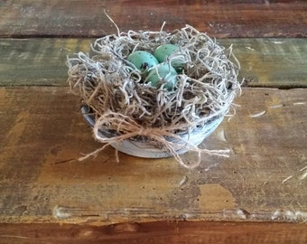 Rustic Handmade Birdnest with Distressed Terra Cotta, Birdnest Centerpiece, Rustic Wedding Decor, Bridal Baby Shower Favor, Shabby Chic