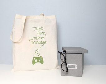Tote, gaming tote, tote bag, geek tote bag, gamer tote, five more minutes, typography tote, quote totes, gifts for him, book bag, school bag