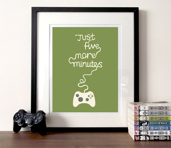 Gaming Poster Typographic Print Five More Minutes Video