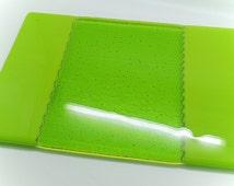 Green fused glass platter. Chopping board. Cheeseboard. Casserole / pan stand. Lime green home decor. Housewarming, wedding birthday gift.