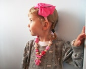 Pink Baby Doll crocheted necklace   with beads and candy / soft filler beads /Teething Necklace/ eco-friendly
