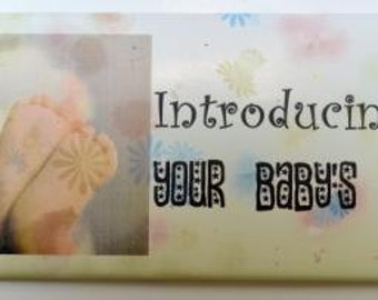 Customized Candy Bar Wrapper Baby Feet Birth Announcement