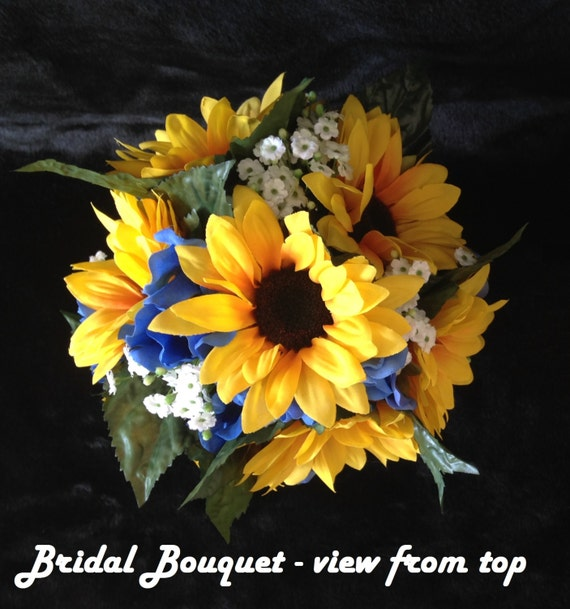 Bridal bouquet sunflowers royal blue hydrangea baby s breath