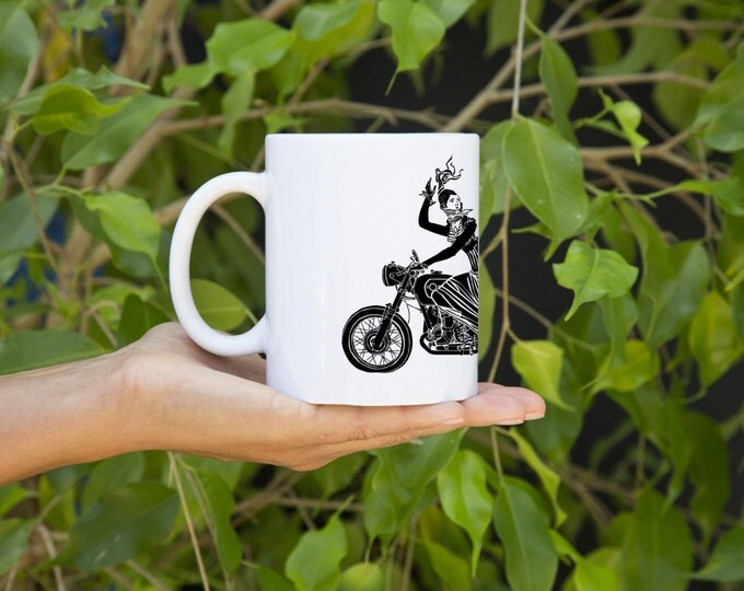 KillerBeeMoto:  U.S. Made Old Fashioned Lady Losing Her Helmet While Riding Her Vintage German Cafe Racer Coffee Mug (White)