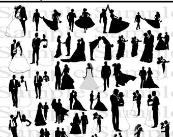 38 Wedding Party Silhouettes   INSTANT DOWNLOAD   Bride Groom Clipart   Bridal Silhouette   Digital Clipart