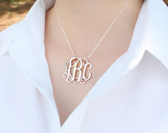 Silver Monogram pendant,1 inch personalized necklace-sterling silver monogram necklace