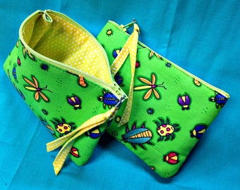 Padded Zipper Pouch, Lime Green Little Purse with Colorful Bugs, Small Handmade Fabric Bag
