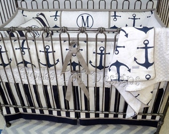 Nautical Navy & Gray Baby Bedding