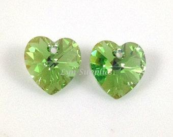 14mm 6228 PERIDOT AB Swarovski Crystal Heart 2pcs or 8pcs Love Valentine Wedding