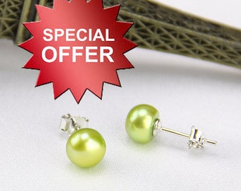 Champagne pearl earrings,real pearl earring,6mm fresh water pearl stud earring,green pearl earings,925 silver earrings,girls earrings gifts