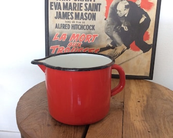 Vintage french red enamel jug