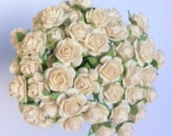 50 Ivory Mulberry Paper Roses 10mm (1cm)