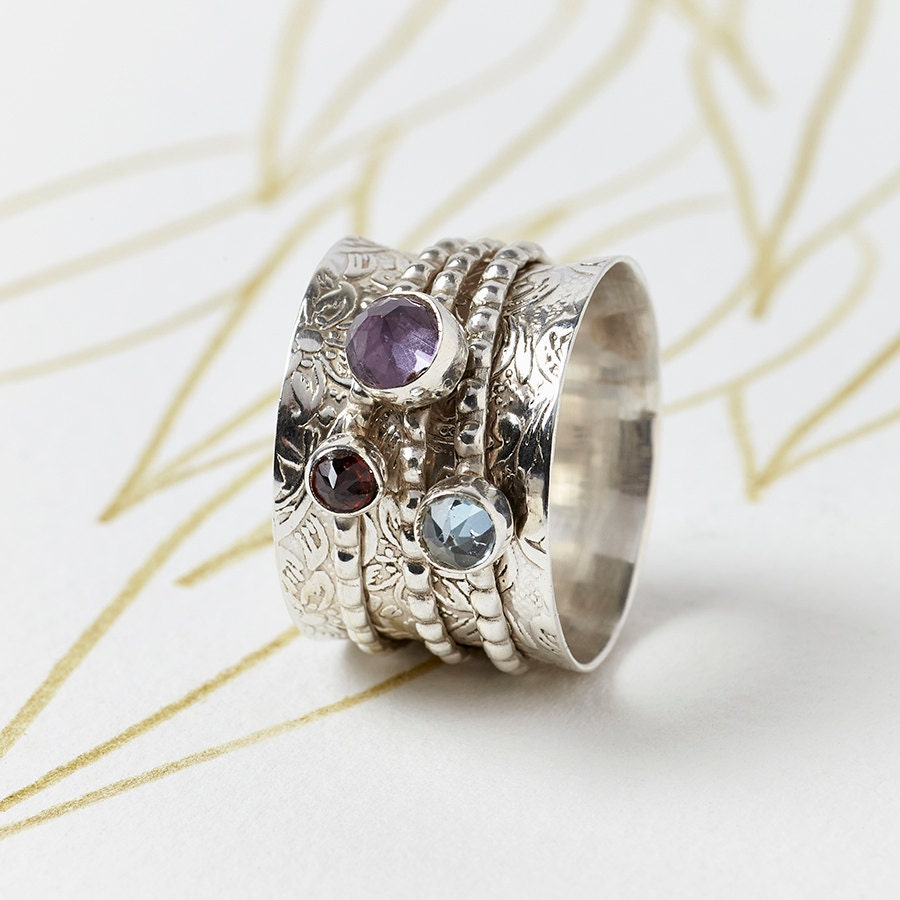 25 chunky gemstone silver spinning ring by