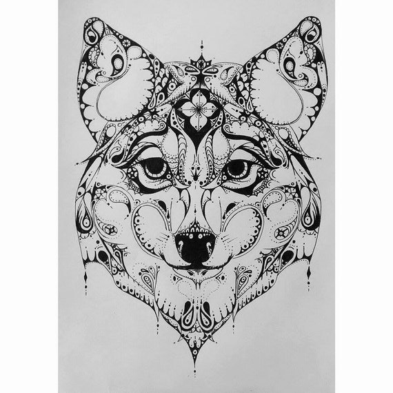 Items Similar To Zentangle Style Wolf