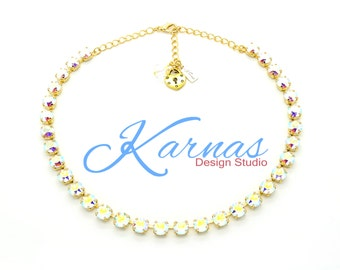 CRYSTAL AB 8mm Crystal Chaton Necklace Made With Swarovski Elements *Pick Your Metal *Karnas Design Studio *Free Shipping*