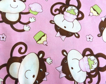 """Cupcakes and Monkeys Pink Cotton Fabric by Debbie Mumm.  42"""" wide sold by the yard"""
