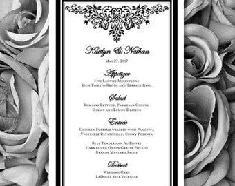 Wedding Menu Anna Maria Black White Printable Template Edit Worddoc Instant