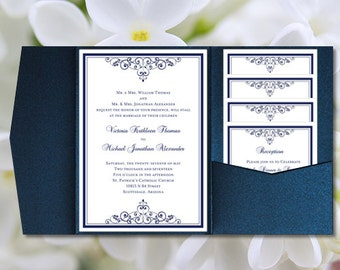 "DIY Pocketfold Wedding Invitations ""Vintage"" Navy Blue Printable Templates Instant Download Order Any 1 or 2 Colors You Print"