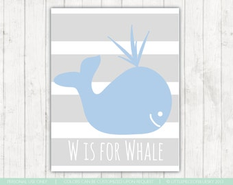 W is for Whale Print_ 8x10 or 11x14. Whale Nursery Decor Little Boy Room Decor Gray and Blue What Silhouette